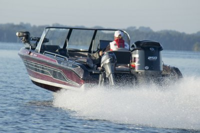 yamaha four stroke pushes deep v muskie boat