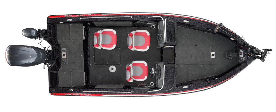 2018 Skeeter WX2190 Select Deep V Boat For Sale overhead image with storage compartments closed.