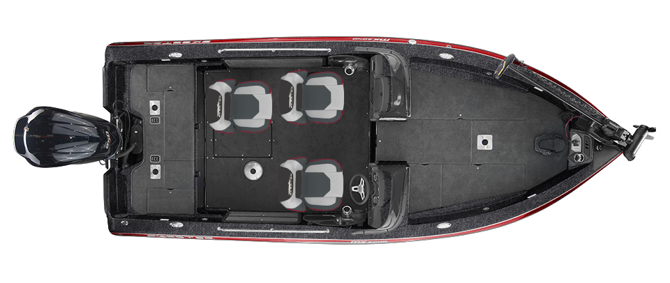 2018 Skeeter MX2040 Deep V Boat For Sale overhead image with storage compartments closed.