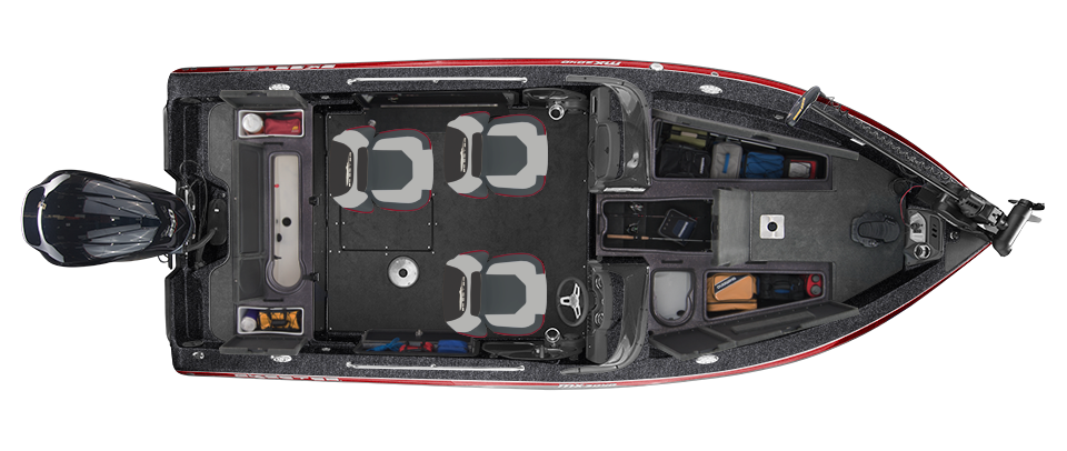 2018 Skeeter MX2040 Deep V Boat For Sale overhead image with storage compartments open.