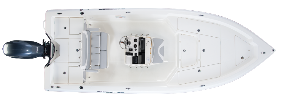 2018 Skeeter SX2250 Bay Boat For Sale overhead image with storage compartments closed.