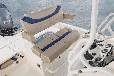 Comfortable seating in the saltwater fishing boat