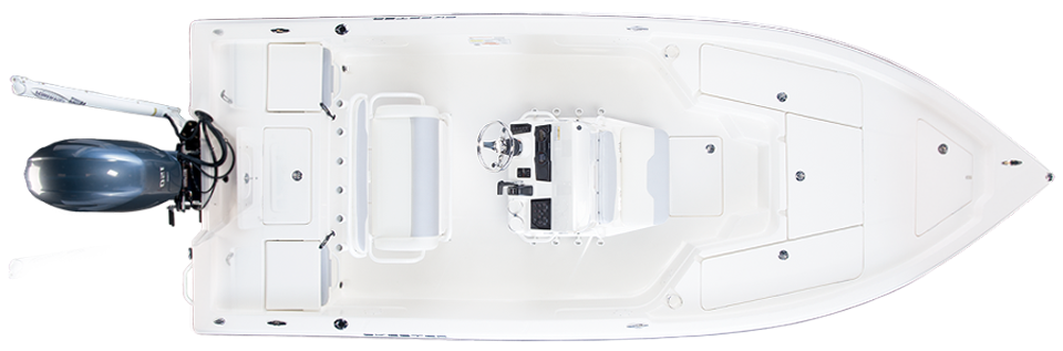 2018 Skeeter SX210 Bay Boat For Sale overhead image with storage compartments closed.