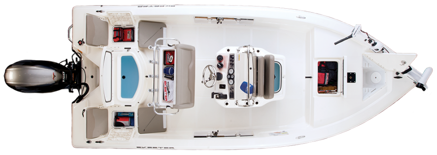 2018 Skeeter SX200 Bay Boat For Sale overhead image with storage compartments open.