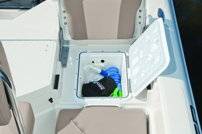 rear seat storage in center console bay boat