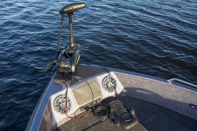 minn kota trolling motor mounted on bow of fishing boat