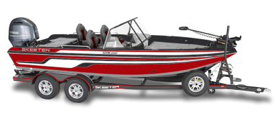 walleye deep v fishing boat on skeeterbuilt trailer