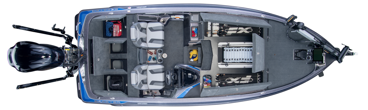 2019 Skeeter FX21 Bass Boat For Sale overhead image with storage compartments open.