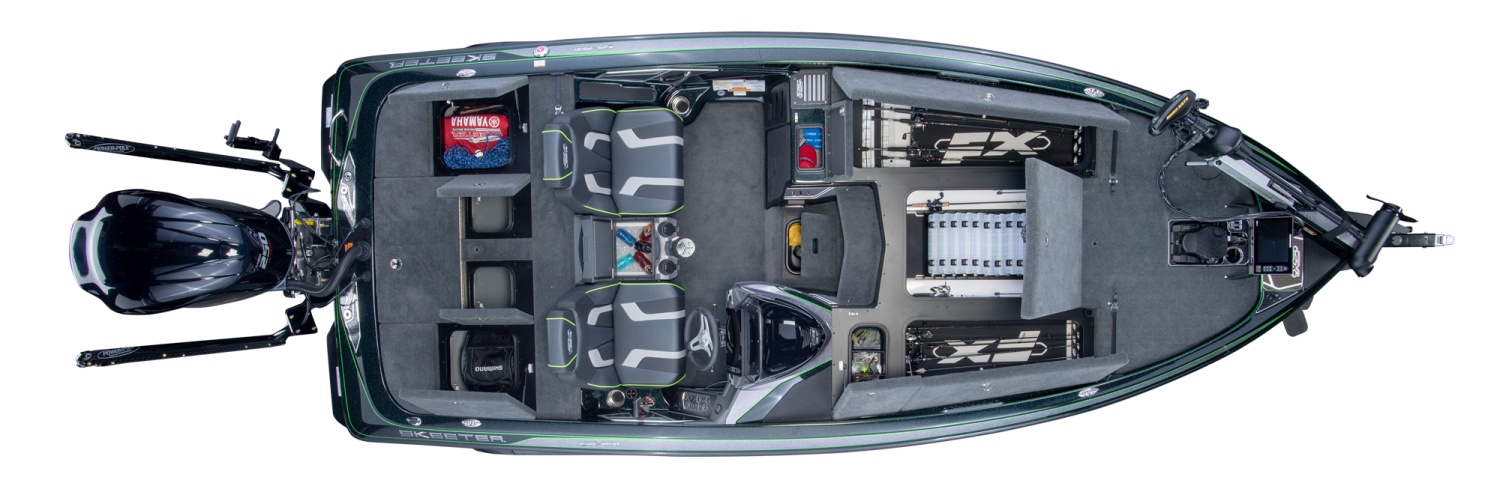 2019 Skeeter FX20 Bass Boat For Sale overhead image with storage compartments open.