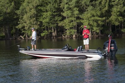 two men fishing from skeeter fx21 apex edition bass boat