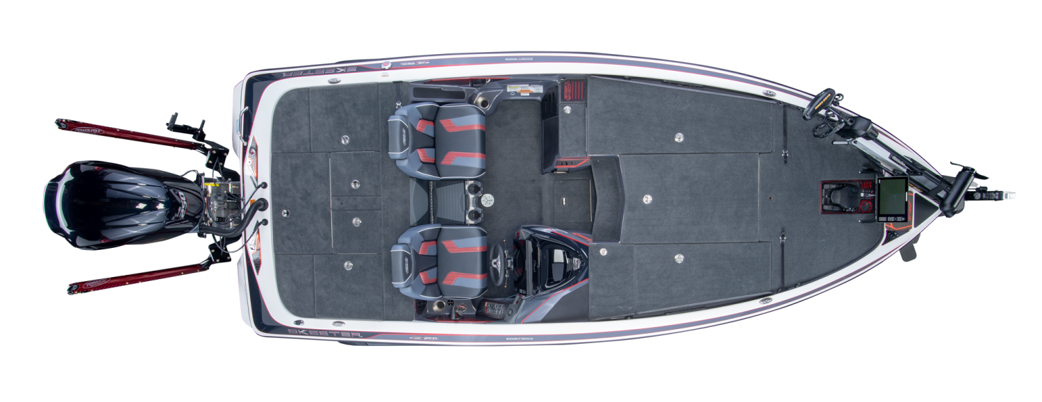 2019 Skeeter FX20 APEX Bass Boat For Sale overhead image with storage compartments closed.