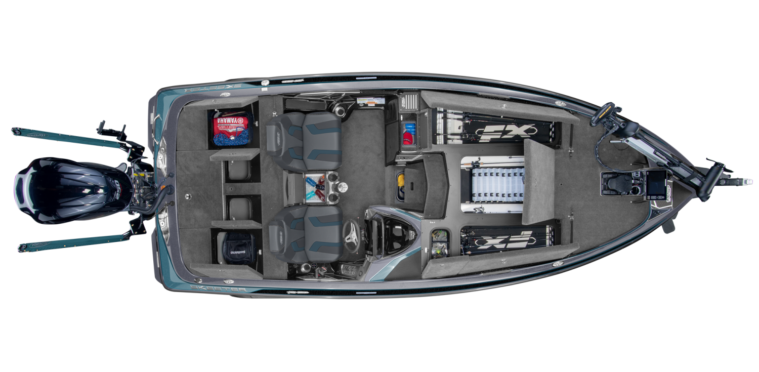 2019 Skeeter FX20 LE Bass Boat For Sale overhead image with storage compartments open.