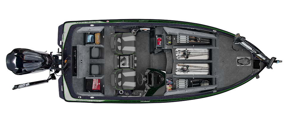 2019 Skeeter ZX225 Bass Boat For Sale overhead image with storage compartments open.
