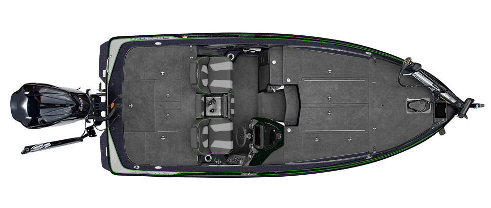 2019 Skeeter ZX225 Bass Boat For Sale overhead image with storage compartments closed.