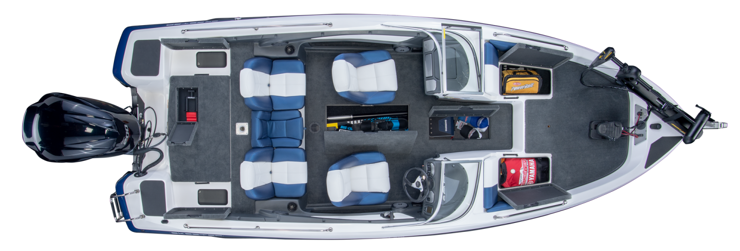 2019 Skeeter SL210 Fish & Ski Boat For Sale overhead image with storage compartments open.