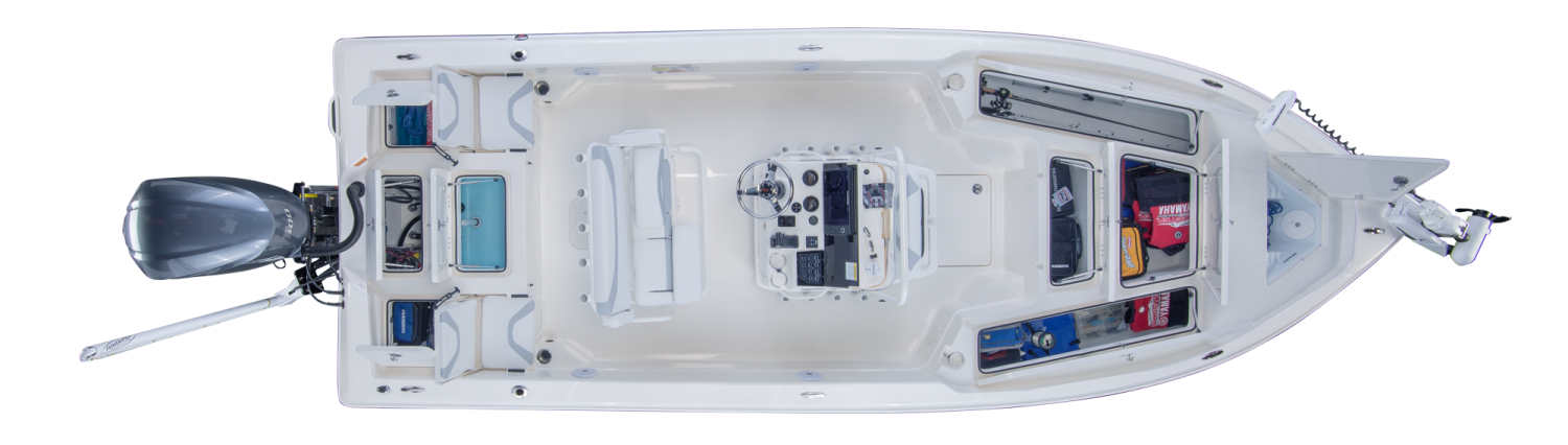 2019 Skeeter SX240 Bay Boat For Sale overhead image with storage compartments open.