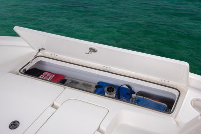 open portside front deck storage locker on sx240