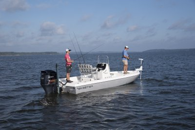 two men fishing from skeeter sx230 bay boat