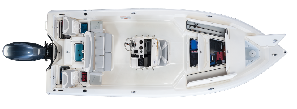 2019 Skeeter SX2250 Bay Boat For Sale overhead image with storage compartments open.
