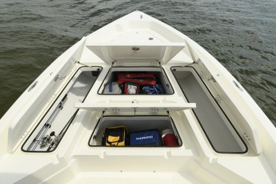 SX2250 front deck with storage boxes open