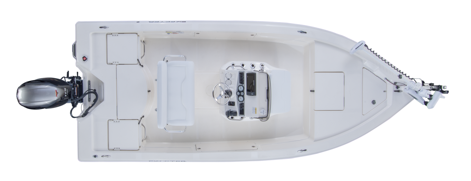 2019 Skeeter SX200 Bay Boat For Sale overhead image with storage compartments closed.