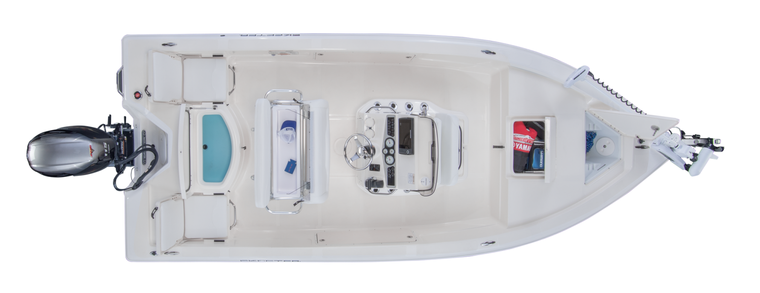 2019 Skeeter SX200 Bay Boat For Sale overhead image with storage compartments open.