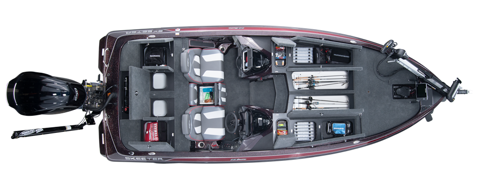 2020 Skeeter ZX250 Bass Boat For Sale overhead image with storage compartments open.