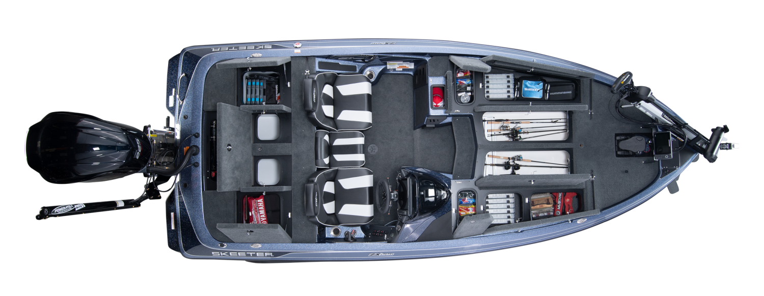 2020 Skeeter ZX225 Bass Boat For Sale overhead image with storage compartments open.