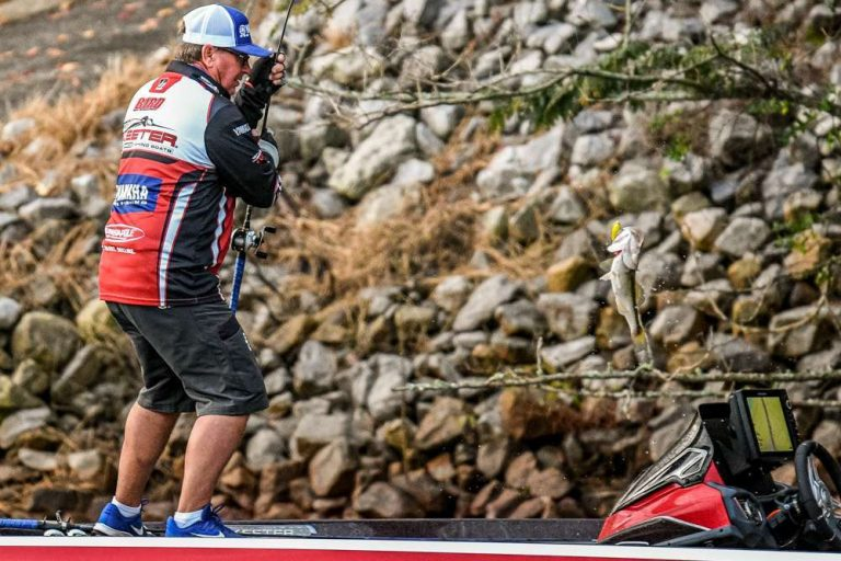 Cody Bird fishes on a Skeeter Bass Boat