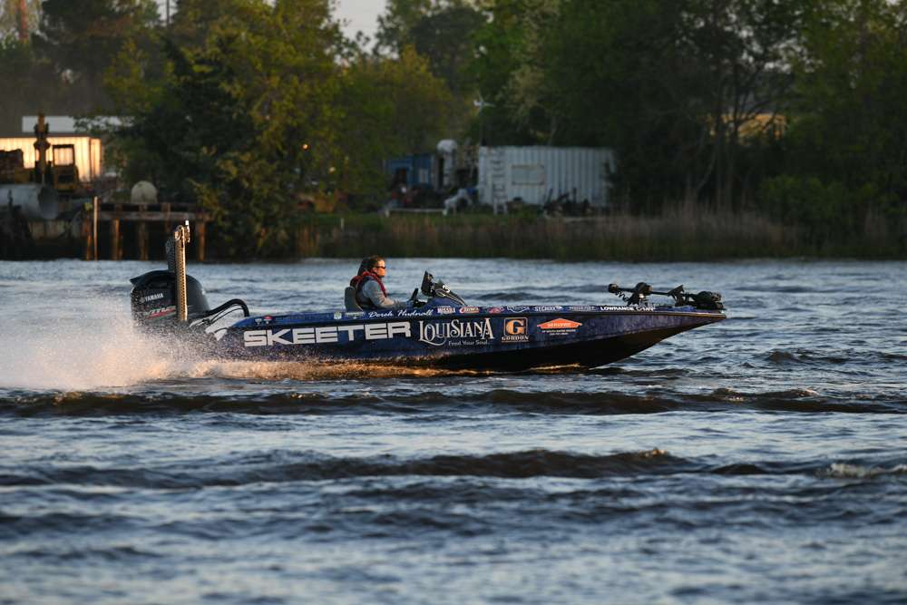 Derek Hundell on the water in his Skeeter bass boat